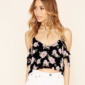 F21 Cold Shoulder Floral Ruffle Crop Top size S